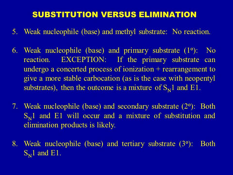 SUBSTITUTION VERSUS ELIMINATION 5.Weak nucleophile (base) and methyl substrate: No reaction. 6.Weak nucleophile (base) and primary substrate (1 o ): N