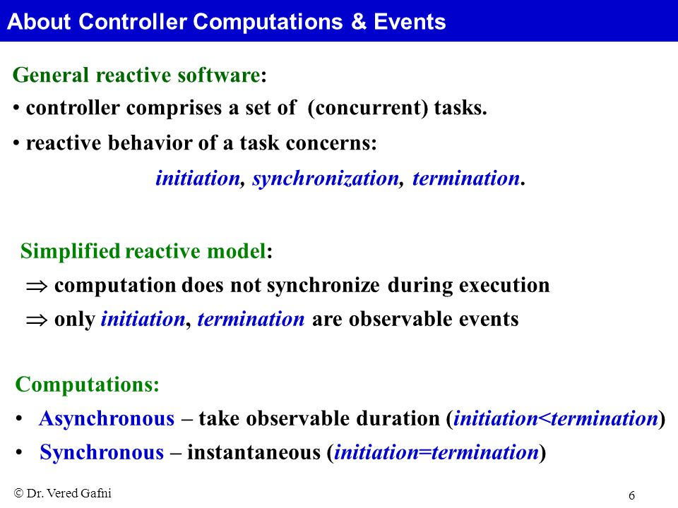  Dr. Vered Gafni 6 General reactive software: controller comprises a set of (concurrent) tasks.