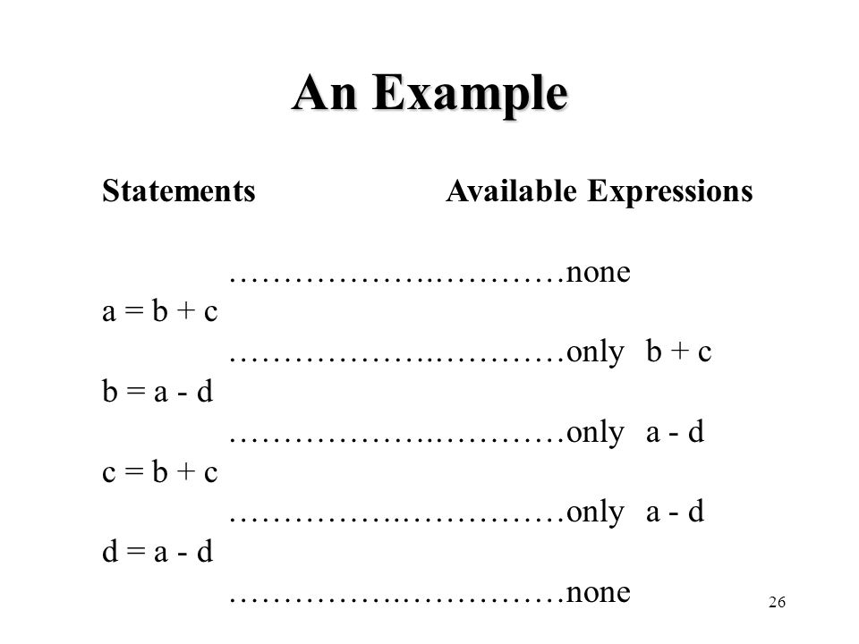 26 An Example StatementsAvailable Expressions ……………….…………none a = b + c ……………….…………only b + c b = a - d ……………….…………only a - d c = b + c …………….……………only a - d d = a - d …………….……………none