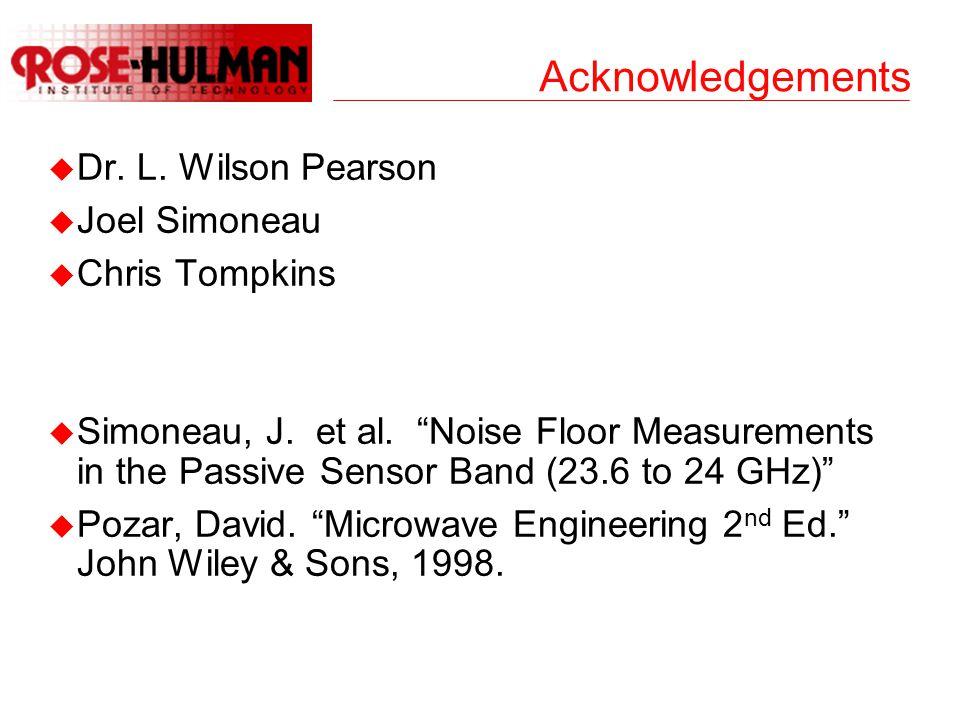 """Acknowledgements u Dr. L. Wilson Pearson u Joel Simoneau u Chris Tompkins u Simoneau, J. et al. """"Noise Floor Measurements in the Passive Sensor Band ("""