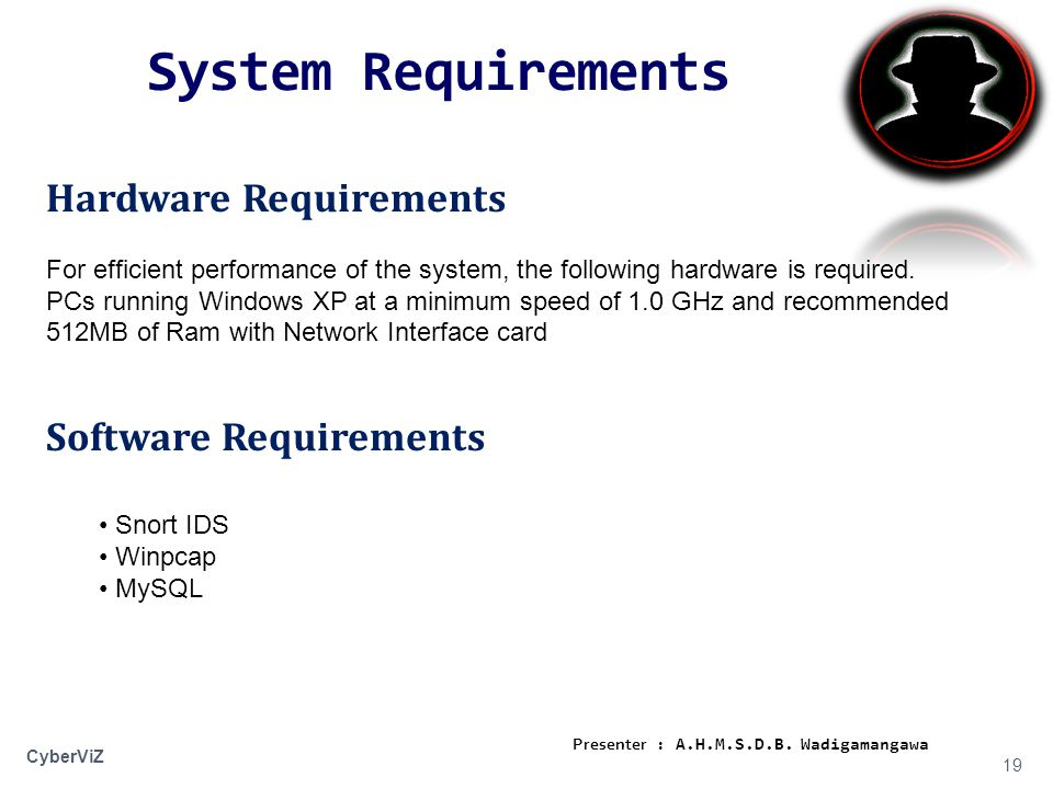 System Requirements 19 CyberViZ Hardware Requirements For efficient performance of the system, the following hardware is required.