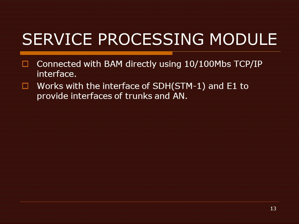 13 SERVICE PROCESSING MODULE  Connected with BAM directly using 10/100Mbs TCP/IP interface.  Works with the interface of SDH(STM-1) and E1 to provid