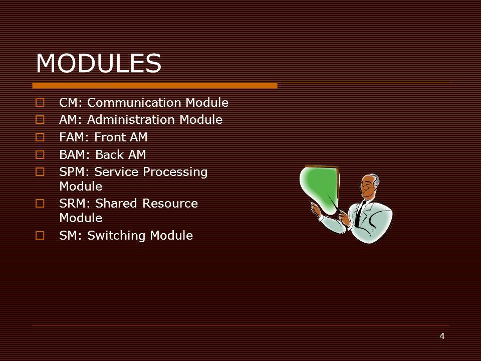 4 MODULES  CM: Communication Module  AM: Administration Module  FAM: Front AM  BAM: Back AM  SPM: Service Processing Module  SRM: Shared Resourc