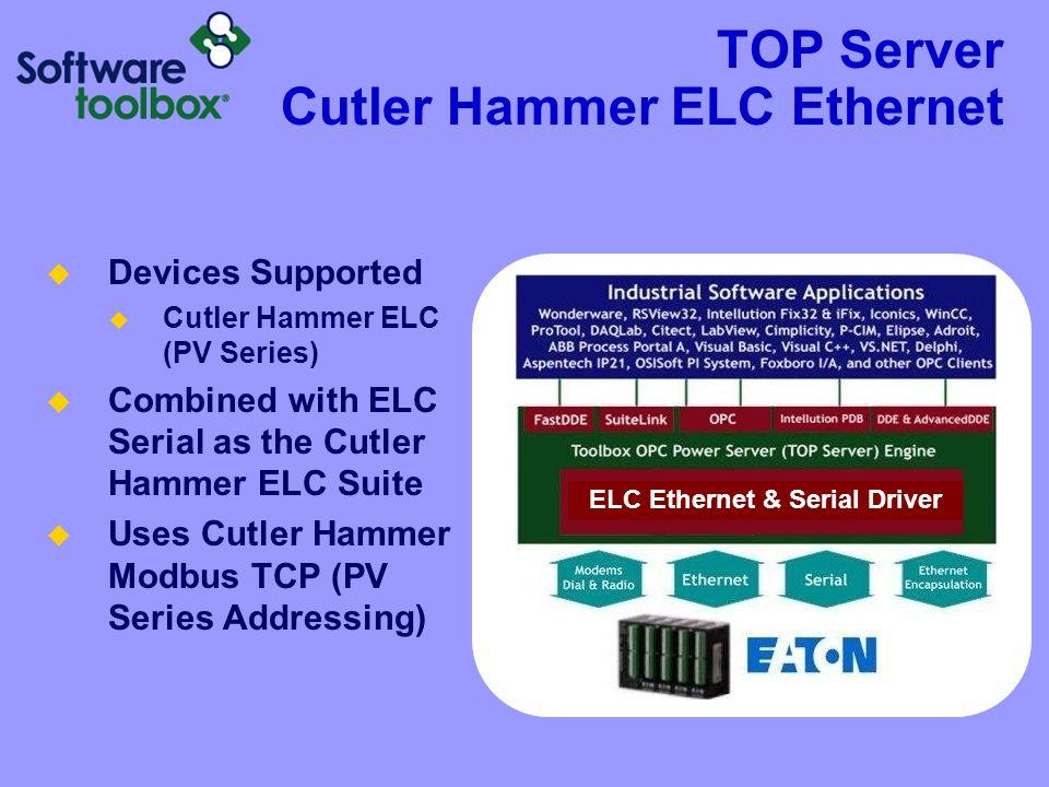TOP Server Cutler Hammer ELC Ethernet  Devices Supported  Cutler Hammer ELC (PV Series)  Combined with ELC Serial as the Cutler Hammer ELC Suite  Uses Cutler Hammer Modbus TCP (PV Series Addressing) ELC Ethernet & Serial Driver