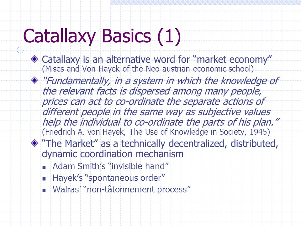 How does Catallaxy avoid chaos and achieve order.