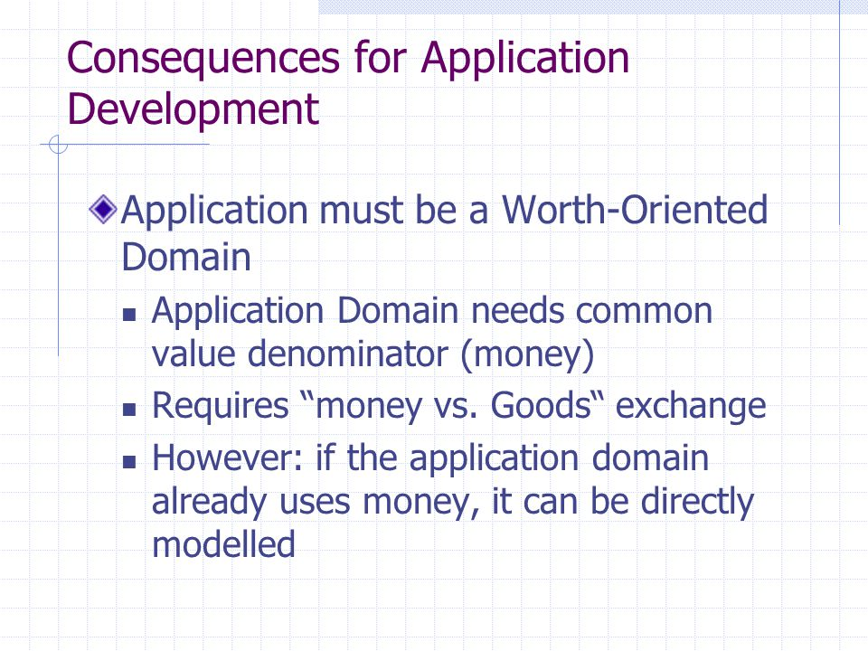 Consequences for Application Development Agent-based solution is always inferior to analytical optimization Catallaxy is inverse scalable Works better, the larger the network is Information The more information is available, the more accurate are the choices The more agents, the more information exists Computation Computation is fully parallel (no central bottleneck) Solution always exists in the system (no non-allocated resource)