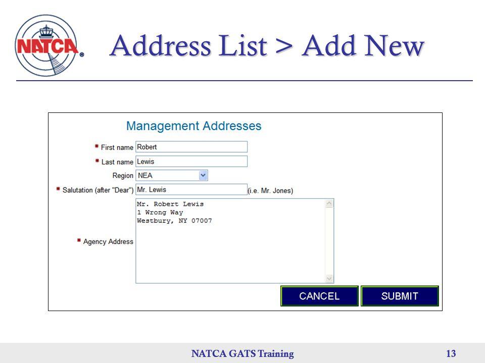 NATCA GATS Training 13 NATCA GATS Training13NATCA GATS Training13 Address List > Add New