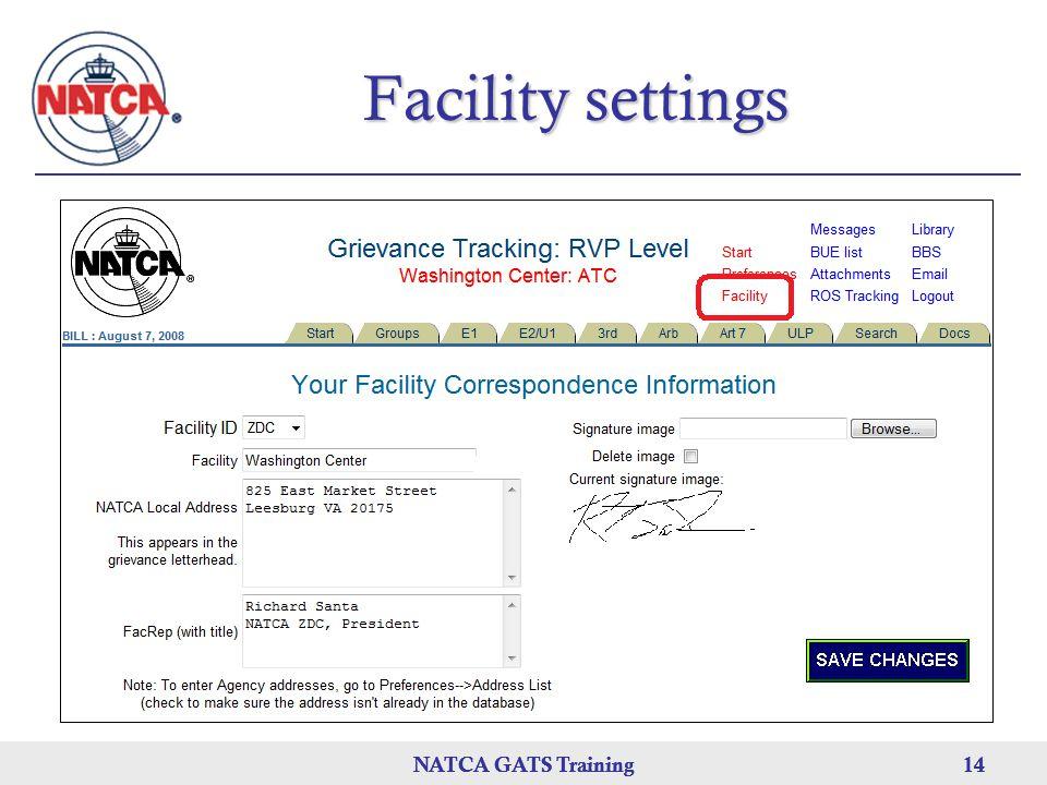 NATCA GATS Training 14 NATCA GATS Training14NATCA GATS Training14 Facility settings
