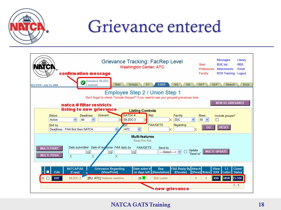 NATCA GATS Training 18 NATCA GATS Training18NATCA GATS Training18 Grievance entered