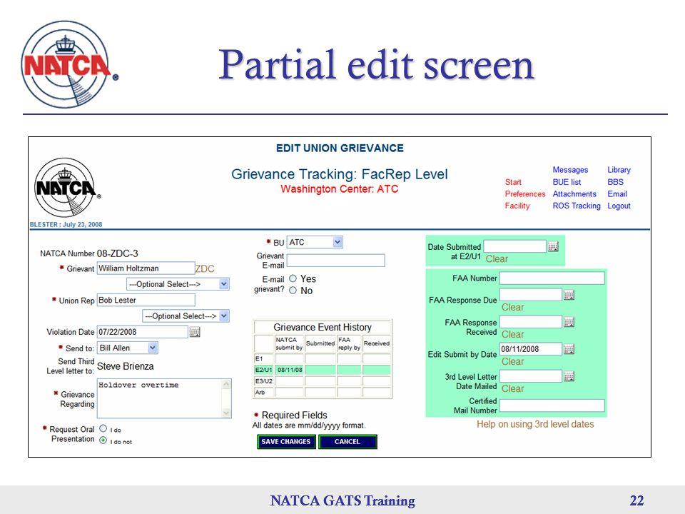 NATCA GATS Training 22 NATCA GATS Training22NATCA GATS Training22 Partial edit screen