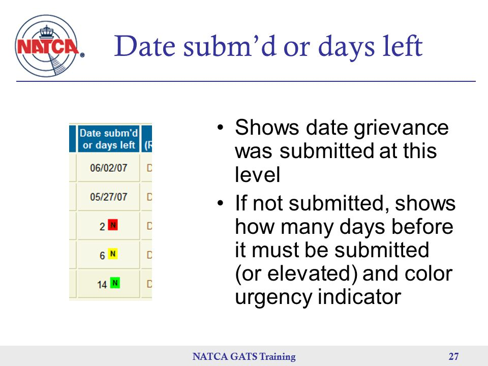 NATCA GATS Training 27 NATCA GATS Training27 Date subm'd or days left Shows date grievance was submitted at this level If not submitted, shows how man