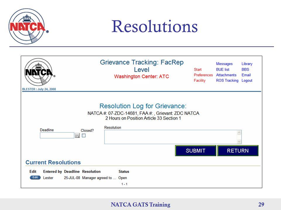 NATCA GATS Training 29 NATCA GATS Training29 Resolutions