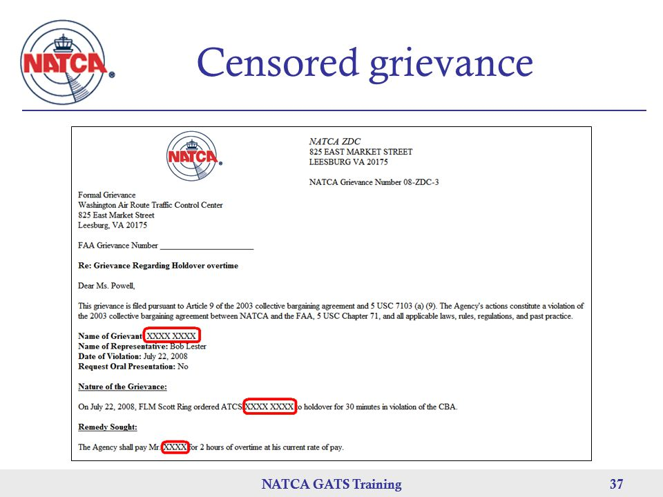 NATCA GATS Training 37 NATCA GATS Training37 Censored grievance