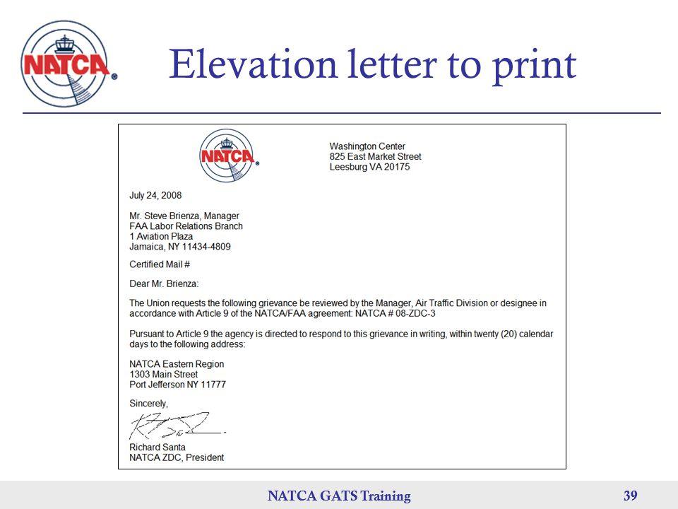 NATCA GATS Training 39 NATCA GATS Training39 Elevation letter to print