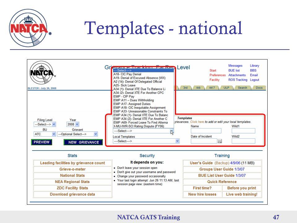 NATCA GATS Training 47 NATCA GATS Training47 Templates - national