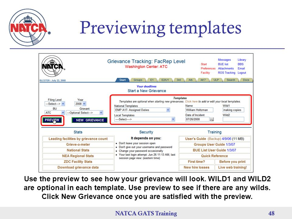 NATCA GATS Training 48 NATCA GATS Training48 Previewing templates Use the preview to see how your grievance will look.