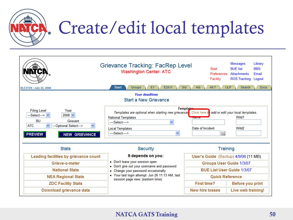 NATCA GATS Training 50 NATCA GATS Training50 Create/edit local templates
