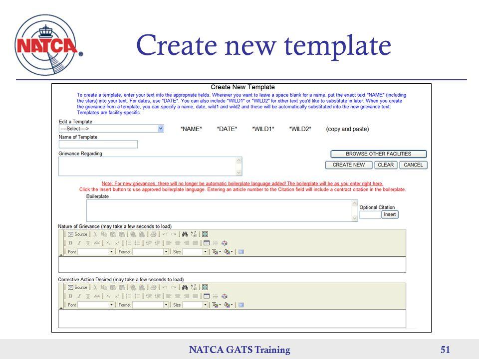 NATCA GATS Training 51 NATCA GATS Training51 Create new template