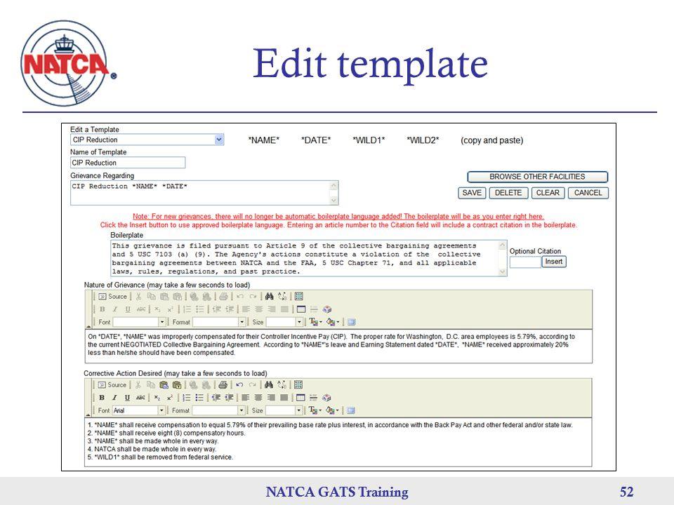 NATCA GATS Training 52 NATCA GATS Training52 Edit template