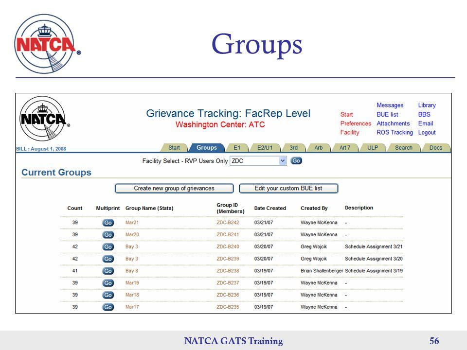 NATCA GATS Training 56 NATCA GATS Training56 Groups