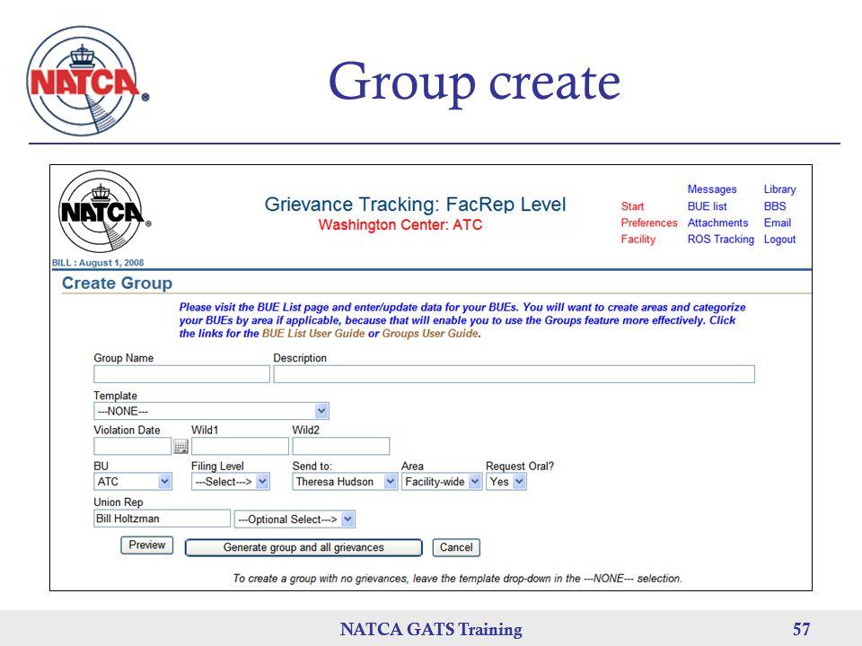 NATCA GATS Training 57 NATCA GATS Training57 Group create