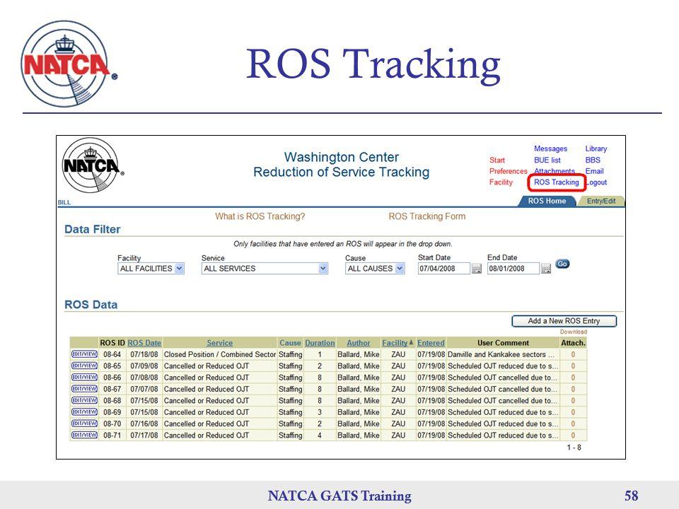 NATCA GATS Training 58 NATCA GATS Training58 ROS Tracking