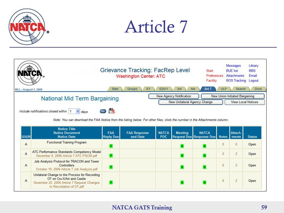 NATCA GATS Training 59 NATCA GATS Training59 Article 7