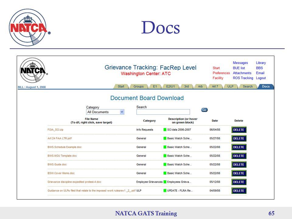 NATCA GATS Training 65 NATCA GATS Training65 Docs