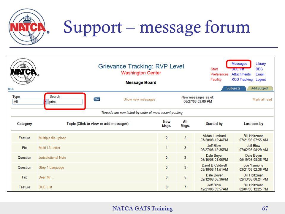 NATCA GATS Training 67 Support – message forum