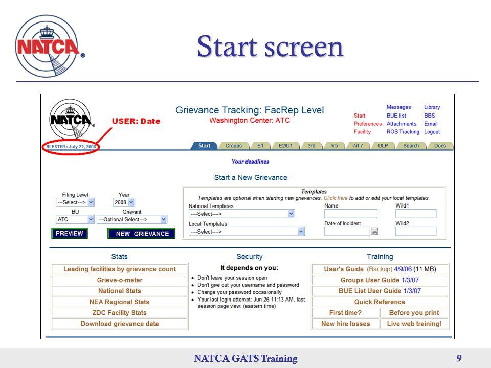 NATCA GATS Training 9 9 9 Start screen