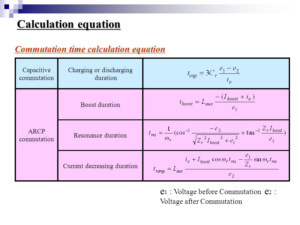 Calculation equation Capacitive commutation Charging or discharging duration ARCP commutation Boost duration Resonance duration Current decreasing duration Commutation time calculation equation e 1 : Voltage before Commutation e 2 : Voltage after Commutation