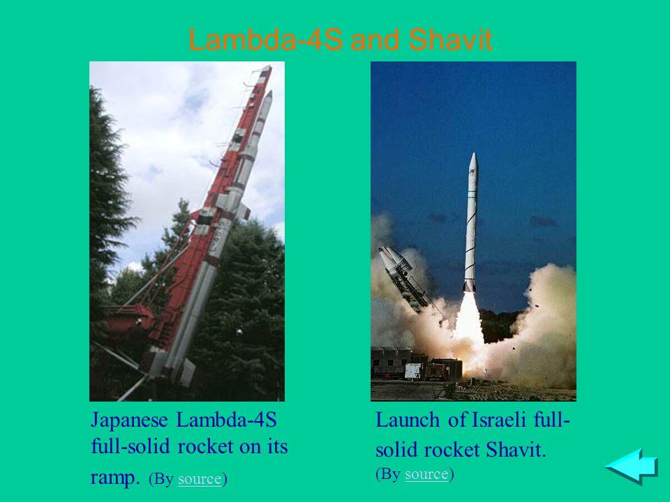 Lambda-4S and Shavit Japanese Lambda-4S full-solid rocket on its ramp.