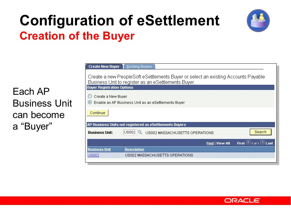 Configuration of eSettlement Creation of the Buyer Each AP Business Unit can become a Buyer