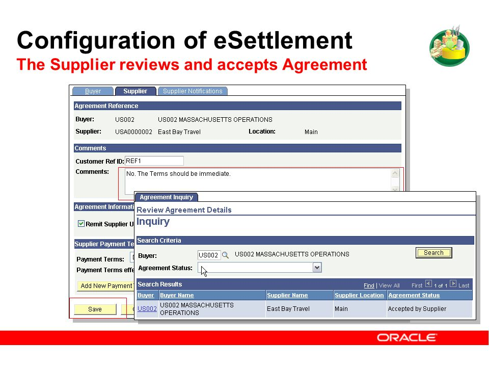Configuration of eSettlement The Supplier reviews and accepts Agreement