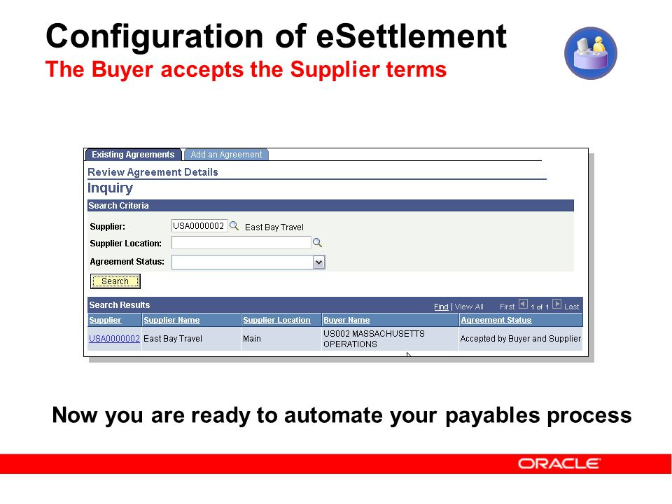 Configuration of eSettlement The Buyer accepts the Supplier terms Now you are ready to automate your payables process