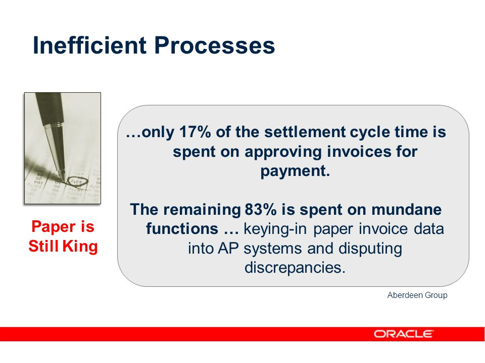 Inefficient Processes …only 17% of the settlement cycle time is spent on approving invoices for payment.