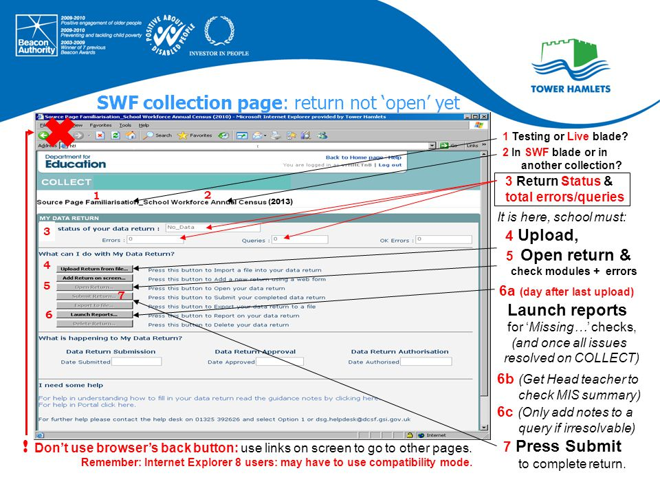  1 2 3 4 5 7 6 SWF collection page: return not 'open' yet It is here, school must: 4 Upload, 5 Open return & check modules + errors 6a (day after last upload) Launch reports for 'Missing…' checks, (and once all issues resolved on COLLECT) 6b (Get Head teacher to check MIS summary) 6c (Only add notes to a query if irresolvable) 7 Press Submit to complete return.