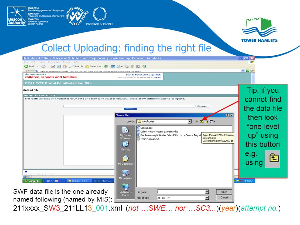 Collect Uploading: finding the right file SWF data file is the one already named following (named by MIS): 211xxxx_SW3_211LL13_001.xml (not …SWE… nor
