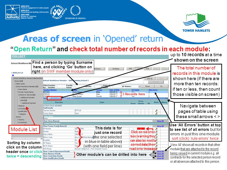 Areas of screen in 'Opened' return The total number of records in this module is shown here (if there are more than ten records: if ten or less, then