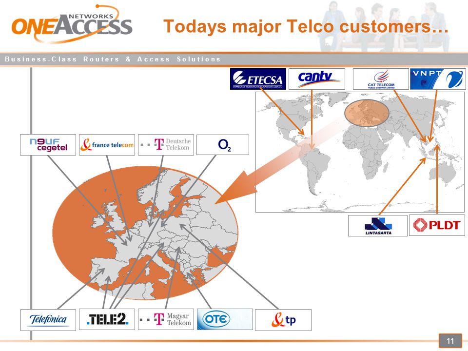 B u s i n e s s - C l a s s R o u t e r s & A c c e s s S o l u t i o n s 11 Todays major Telco customers…