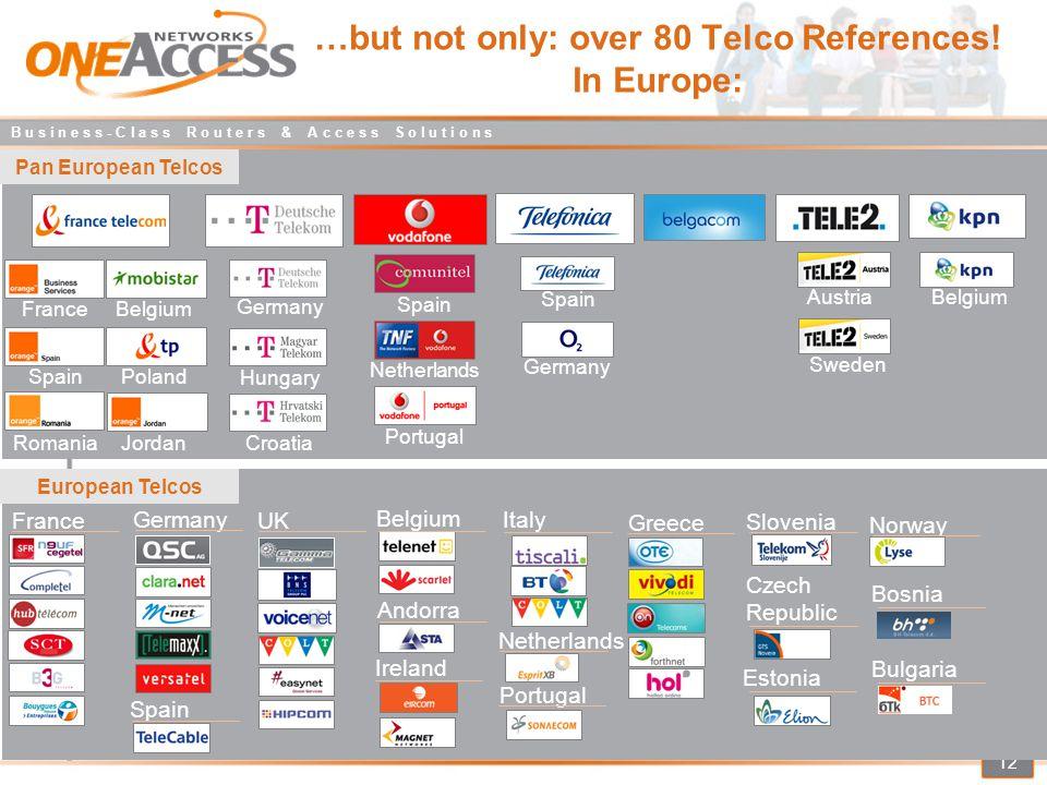 B u s i n e s s - C l a s s R o u t e r s & A c c e s s S o l u t i o n s 12 …but not only: over 80 Telco References.