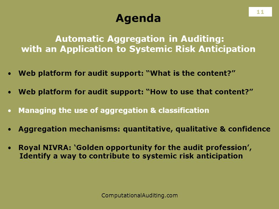 ComputationalAuditing.com Agenda Automatic Aggregation in Auditing: with an Application to Systemic Risk Anticipation Web platform for audit support: What is the content Aggregation mechanisms: quantitative, qualitative & confidence Web platform for audit support: How to use that content 11 Managing the use of aggregation & classification Royal NIVRA: 'Golden opportunity for the audit profession', Identify a way to contribute to systemic risk anticipation
