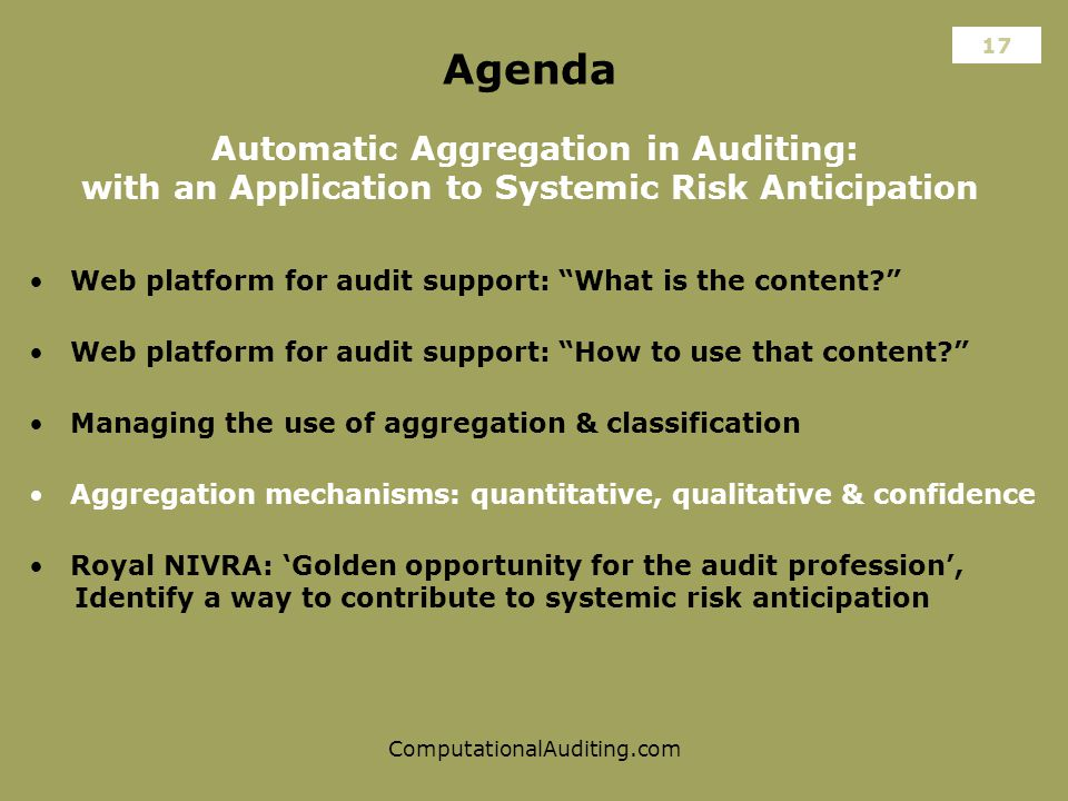 ComputationalAuditing.com Agenda Automatic Aggregation in Auditing: with an Application to Systemic Risk Anticipation Web platform for audit support: What is the content Aggregation mechanisms: quantitative, qualitative & confidence Web platform for audit support: How to use that content 17 Managing the use of aggregation & classification Royal NIVRA: 'Golden opportunity for the audit profession', Identify a way to contribute to systemic risk anticipation