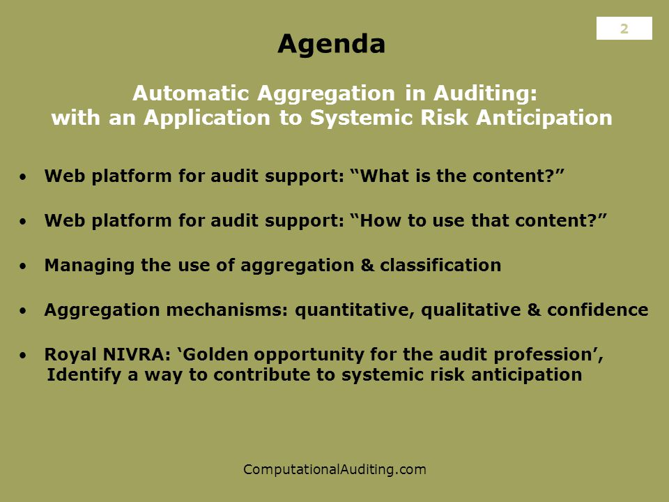 ComputationalAuditing.com Agenda Automatic Aggregation in Auditing: with an Application to Systemic Risk Anticipation Web platform for audit support: What is the content Aggregation mechanisms: quantitative, qualitative & confidence Web platform for audit support: How to use that content 2 Managing the use of aggregation & classification Royal NIVRA: 'Golden opportunity for the audit profession', Identify a way to contribute to systemic risk anticipation