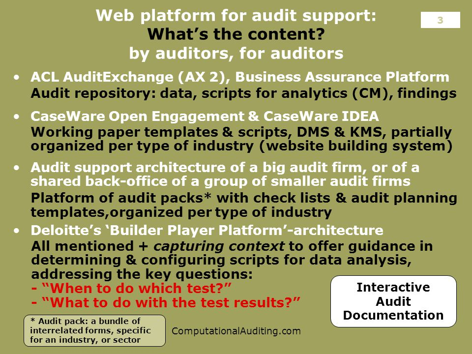 ComputationalAuditing.com Web platform for audit support: What's the content.