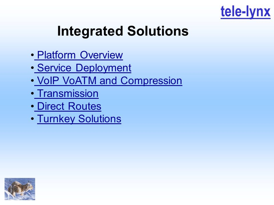 tele-lynx Integrated Solutions Platform Overview Service Deployment VoIP VoATM and Compression Transmission Direct Routes Turnkey Solutions