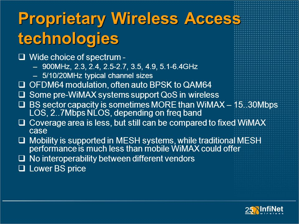 25 Proprietary Wireless Access technologies  Wide choice of spectrum - –900MHz, 2.3, 2.4, 2.5-2.7, 3.5, 4.9, 5.1-6.4GHz –5/10/20MHz typical channel sizes  OFDM64 modulation, often auto BPSK to QAM64  Some pre-WiMAX systems support QoS in wireless  BS sector capacity is sometimes MORE than WiMAX – 15..30Mbps LOS, 2..7Mbps NLOS, depending on freq band  Coverage area is less, but still can be compared to fixed WiMAX case  Mobility is supported in MESH systems, while traditional MESH performance is much less than mobile WiMAX could offer  No interoperability between different vendors  Lower BS price