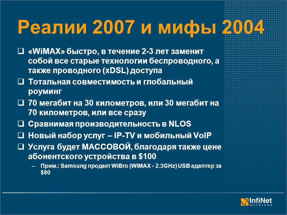 Реалии 2007 и мифы 2004  «WiMAX» быстро, в течение 2-3 лет заменит собой все старые технологии беспроводного, а также проводного (xDSL) доступа  Тотальная совместимость и глобальный роуминг  70 мегабит на 30 километров, или 30 мегабит на 70 километров, или все сразу  Сравнимая производительность в NLOS  Новый набор услуг – IP-TV и мобильный VoIP  Услуга будет МАССОВОЙ, благодаря также цене абонентского устройства в $100 –Прим.: Samsung продает WiBro (WiMAX - 2.3GHz) USB адаптер за $80