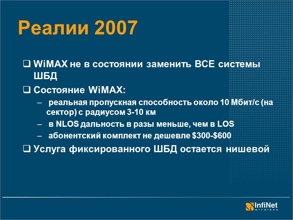 Реалии 2007  WiMAX не в состоянии заменить ВСЕ системы ШБД  Состояние WiMAX: – реальная пропускная способность около 10 Мбит/с (на сектор) с радиусом 3-10 км – в NLOS дальность в разы меньше, чем в LOS – абонентский комплект не дешевле $300-$600  Услуга фиксированного ШБД остается нишевой