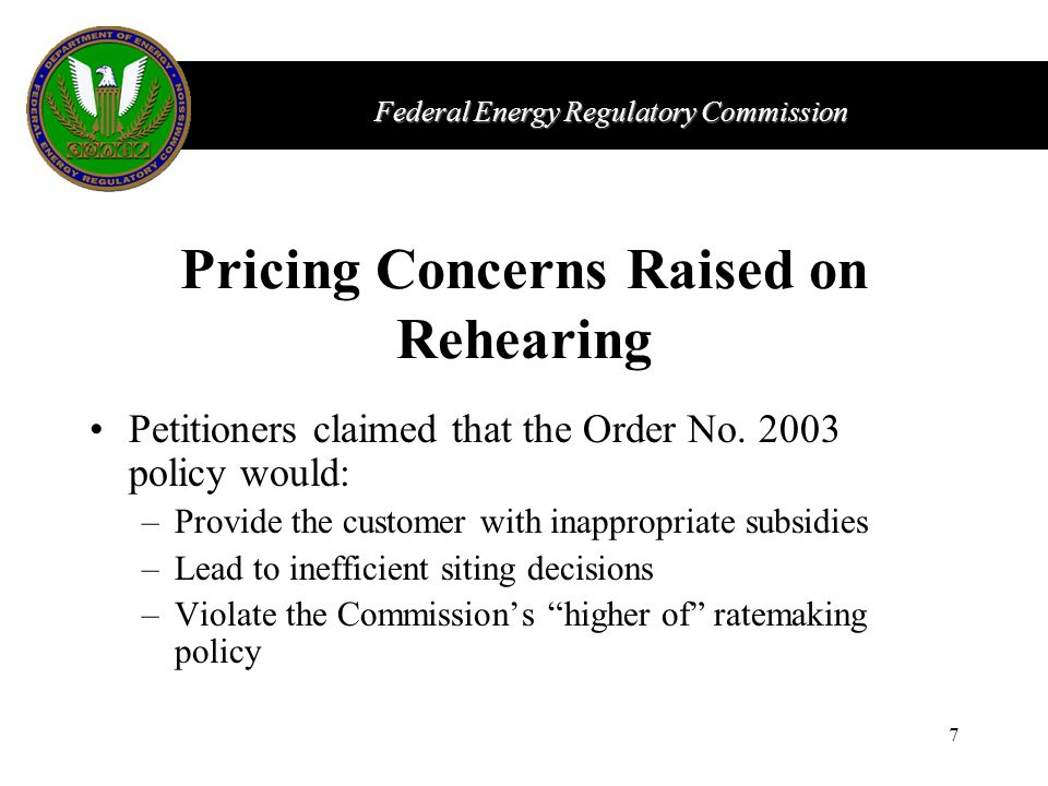 Federal Energy Regulatory Commission 7 Pricing Concerns Raised on Rehearing Petitioners claimed that the Order No.
